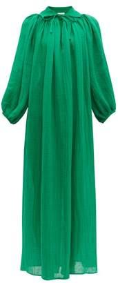 Lisa Marie Fernandez Poet Tie Neck Linen Blend Dress - Womens - Green