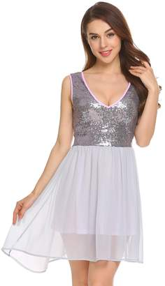 Dethler Women Sequin Dress V Neck Sleeveless Sparkle Cocktail Club Party Dress M