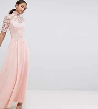 fda3320ce80e John Zack Tall High Neck Cutwork Lace Top Maxi Dress