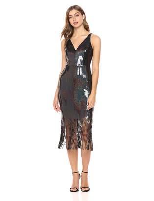 7252d95e78693 Dress the Population Women s Frankie Plunging Sequin Fringe Sleeveless Midi  Dress