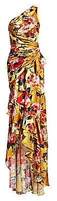 Theia Women's One-Shoulder Ruched Silk Floral Column Gown
