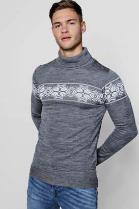 boohoo Fairisle Roll Neck Christmas Jumper