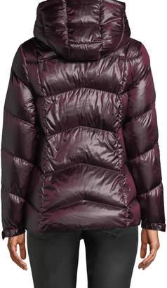 Donna Karan Short Zip-Front Packable Puffer Coat