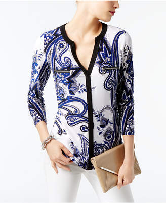 INC International Concepts I.n.c. Printed Zip-Detail Top, Created for Macy's