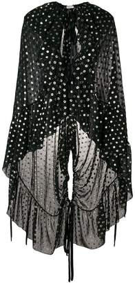 Saint Laurent semi-sheer ruffled cape