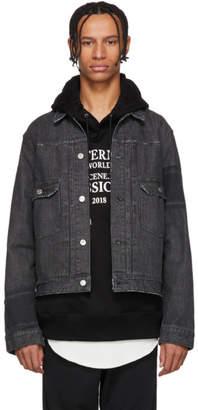mastermind WORLD Black Denim Striped Jacket