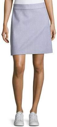 Theory High-Waist A-Line Striped Stretch-Wool Skirt