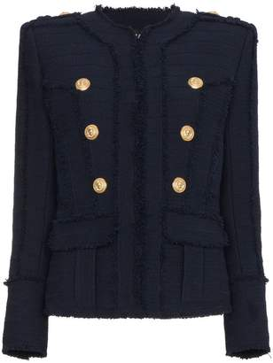 Balmain Collarless tweed military jacket