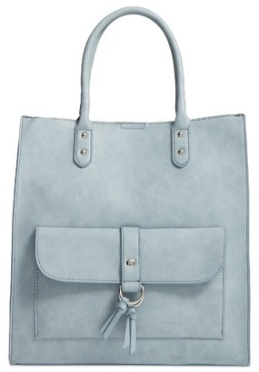 Emperia Athena Faux Leather Pocket Tote - Blue $49 thestylecure.com