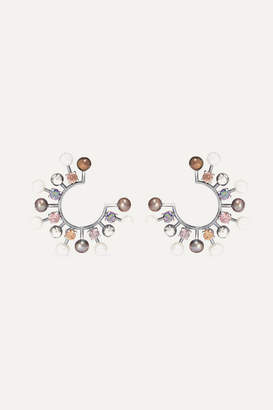 Bottega Veneta Oxidized Silver-tone, Crystal And Pearl Earrings