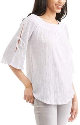French Laundry Women's Soft Gauze Smocked On and Off the Shoulder Top