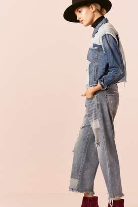Forever 21 Distressed Wide-Leg Ankle Jeans