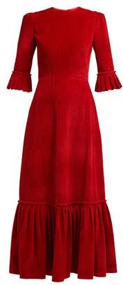 The Vampire's Wife - Festival Ruffle Trimmed Corduroy Dress - Womens - Red