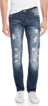 Raw X Jeans Distressed Straight Leg Jeans