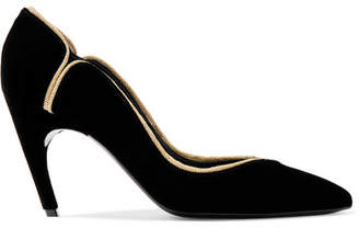 Roger Vivier Choc Real Lurex-trimmed Velvet Pumps - Black
