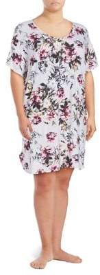 Lord & Taylor Plus Floral Knee-Length Lounge Shirt