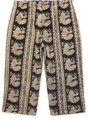 Beams Cropped Printed Cotton Trousers