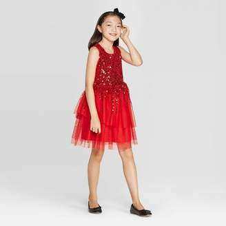 Cat & Jack Girls' Sequin Dress - Cat & JackTM Red