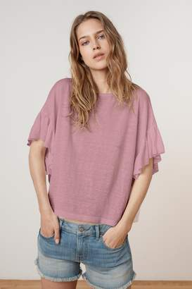 Velvet by Graham & Spencer DORIANA LINEN KNIT RUFFLE SLEEVE TEE