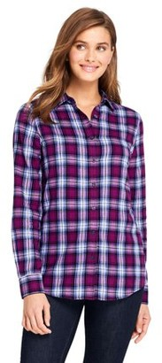 Lands' End Women's Long Sleeve Flannel Button Down Shirt