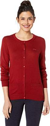 Lacoste Women's Long Sleeve Crewneck Cardigan with POCKETA