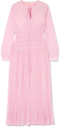 Maje Pleated Chiffon Midi Dress - Pink