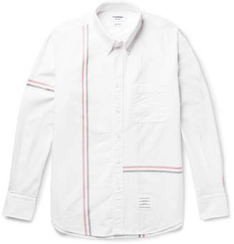 Thom Browne Slim-Fit Button-Down Collar Striped Cotton Oxford Shirt