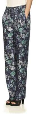 Burberry Floral-Print Mulberry Silk Trousers