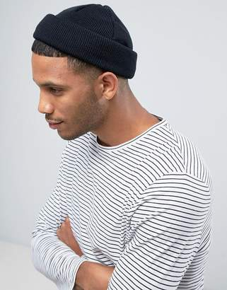 Asos Mini Fisherman Beanie In Black