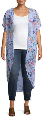 Boutique + + Short Sleeve Kimono - Plus