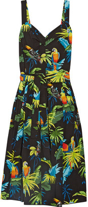 Marc Jacobs - Pleated Printed Cotton-poplin Midi Dress - Black $395 thestylecure.com