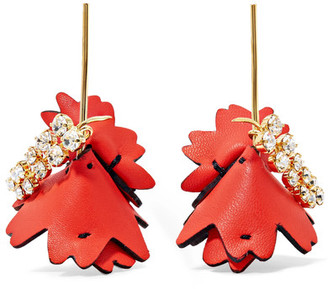 Marni - Gold-tone, Leather And Crystal-embellished Earrings - Red