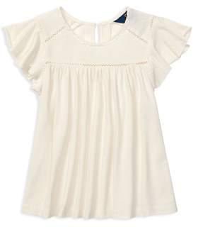 Ralph Lauren Girls' Lace-Inset Jersey Top - Little Kid