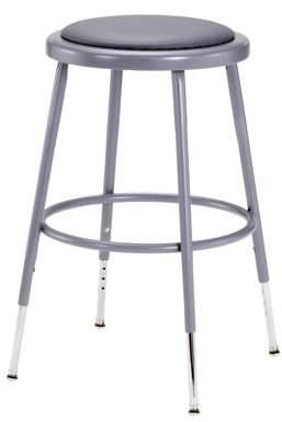 "National Public Seating NPS 18"" High Adjustable Height Heavy Duty Vinyl Padded Steel Stool, Grey"