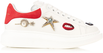 ALEXANDER MCQUEEN Embellished low-top platform leather trainers $1,166 thestylecure.com