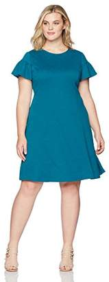 London Times Women's Plus Size Short Sleeve Round Neck Jacquard Fit & Flare Dress