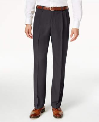 Haggar Men's Eclo Stria Classic Fit Pleated Hidden Expandable Waistband Dress Pants