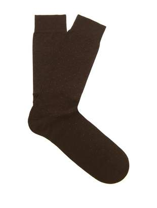 Pantherella Gadsbury Pin Dot Socks - Mens - Dark Brown