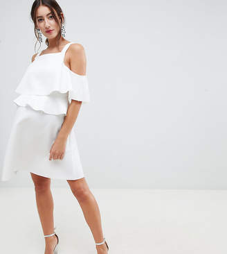 Asos DESIGN Maternity high neck ruffle skater mini dress
