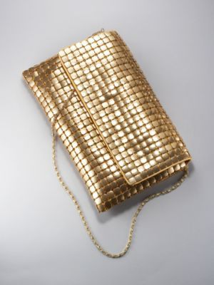City Style Foldover Metal Mesh Clutch