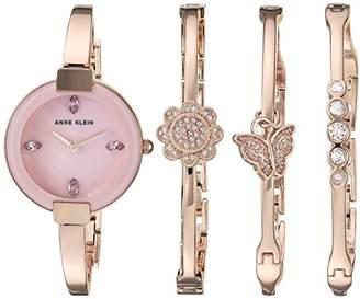 Anne Klein Women's AK/3262RGST Light Purple Swarovski Crystal Accented -Tone Watch and Bangle Set