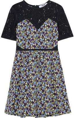 MSGM Corded Lace-Paneled Floral-Print Silk Mini Dress