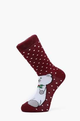 boohoo Polar Bear Christmas Socks