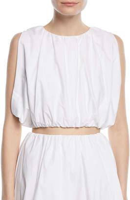 Neiman Marcus Paskal Sleeveless Puffy Cotton Crop Top