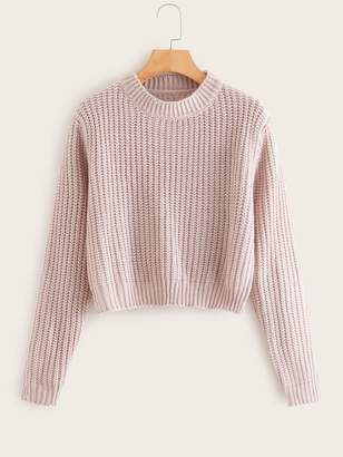 Shein Solid Stand Collar Sweater
