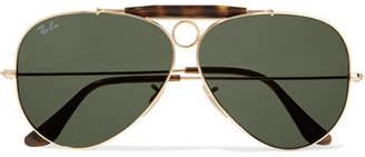 Aviator Gold-tone And Tortoiseshell Acetate Sunglasses