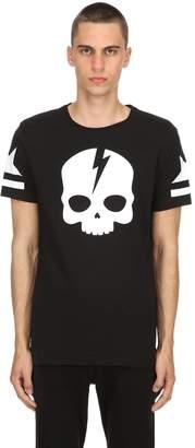 Hydrogen Lightening Skull Cotton Jersey T-Shirt