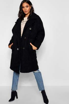 boohoo Oversized Double Breasted Faux Fur Teddy Coat