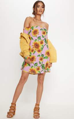 PrettyLittleThing Pink Sunflower Print Bardot Flare Sleeve Smock Dress