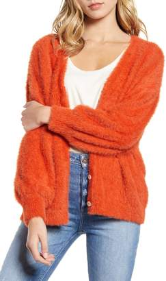 Moon River Balloon Sleeve Eyelash Chenille Cardigan